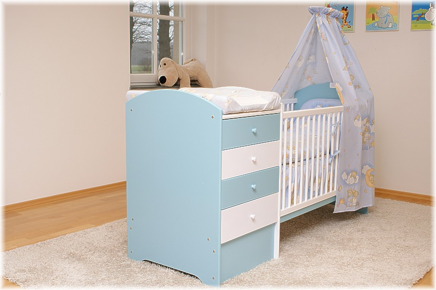 blau babybett mit wickelkommode babybett kinderbett wickelkommode kommode neu ebay. Black Bedroom Furniture Sets. Home Design Ideas