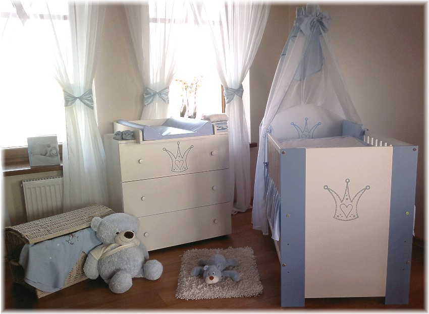 krone blau komplett set babybett kinderbett wickelkommode. Black Bedroom Furniture Sets. Home Design Ideas