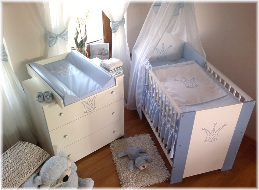 kroneblau komplett set babybett kinderbett wickelkommode babyzimmer baby bett ebay. Black Bedroom Furniture Sets. Home Design Ideas